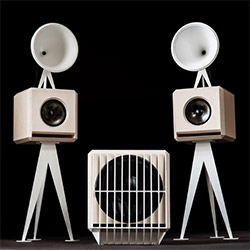 Oswalds Mill Audio - OMA Mini Loudspeaker and Sub are beautiful! Their proprietary conical horn sits atop the birch or bamboo woofer, all perched on carbon steel... with beautiful photography as well!