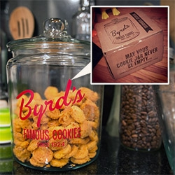 "Byrd's Cookies (since 1924!) + Cookie Jar come in a great box from Savannah, GA! Fun branding, delicious cookies, and ""May your cookie jar never be empty."" (Don't worry, you can gift people cookie subscriptions to keep it full!)"