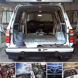 A NOTFZJ80 Project update! Since the last one, we have stripped it, run off to the sierras, dynamatted, pressure washed, reassembled, installed a CB radio, camo'd the seats, installed big tires, NOTCOT stickered it and more…