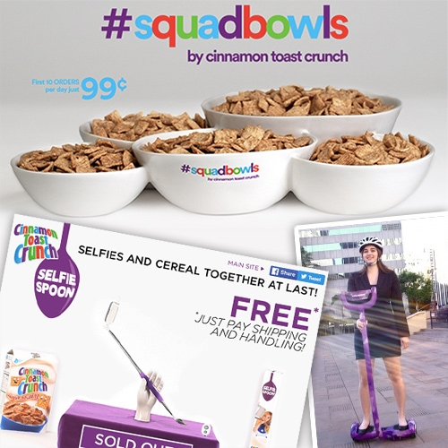 Cinnamon Toast Crunch product madness! They are having so much fun making crazy products and their infomercials real... from Selfie Spoons to #Squadbowls and even a hoverboard to eat cereal on - the Cruiser!