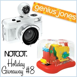 NOTCOT Holiday Giveaway #8: Genius Jones is giving away the really fun combo for all ages... Lomography Fisheye 2 in limited edition WHITE! and the coolest automatic electric stapler, where you can watch the colorful gears in action!
