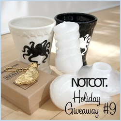 NOTCOT Holiday Giveaway 9: Design Public is giving away : 1 pair of Cake Octopi Cups, Harry Allen Rabbit's Foot Keychain, and Harry Allen Bulb Candles!