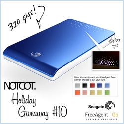 NOTCOT Holiday Giveaway #10! Our big Gift Guide Sponsor Seagate is giving away one royal blue 320Gig FreeAgent GO! Pocket sized, awesome lighting, and just leave me a comment with what you'd put in it!