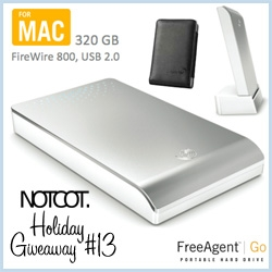 NOTCOT Holiday Giveaway #13: Our official 2008 Gift Guide sponsor, Seagate, is giving away one Silver 320Gig Seagate FreeAgent Go for Mac! This drive has FW800/400/USB 2.0 and even comes with the Travel Case and Docking Station!
