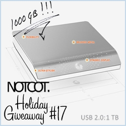 NOTCOT Holiday Giveaway #17: The 3rd giveaway from Seagate, here is the FreeAgent Desk in a whopping 1TB size and usb 2.0!