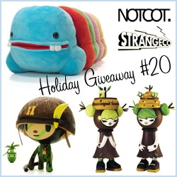 NOTCOT Holiday Giveaway 20: StrangeCo is giving away a toy bundle for all ages: - Mr. TTT - Rainbow + Julie West's Limited Edition Bumble & Tweet Tree Edition + TokiDoki's Captain Coco