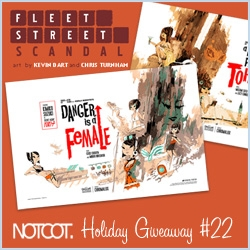 NOTCOT Holiday Giveaway #22: Fleet Street Scandal is giving way a full set of their 4 amazing Yuki-7 Posters! Retro espionage style with an adorable super heroine!