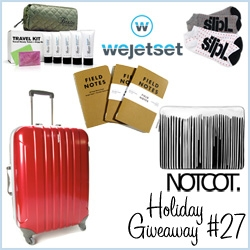 NOTCOT Holiday Giveaway #27: Wejetset is giving away quite the jet setting bundle: a Hideo Carryon, Incase Krink Sleeve, Baxter Travel Kit, Field Notes, + STPL Socks ~ over 500$ of travel goods to get you home for the holidays!