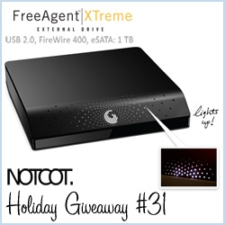 NOTCOT Holiday Giveaway #31 ~ and its the final of our 5 Seagate Giveaways! Here is the Seagate FreeAgent XTreme ~ 1TB, nice and black, and does USB 2.0, FW 400, and eSATA!