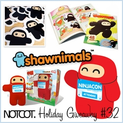 NOTCOT Holiday Giveaway #32: Shawnimals! Here's a chance to win the special red Geeky Ninja ~ with ninja con badge and comic! Also stickers, buttons, and wee ninja comic!