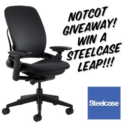 NOTCOT Giveaway!!! Steelcase has offered one of their incredible ergonomic, comfortable LEAP chairs that i reviewed recently to one lucky reader! So come answer the 3 little questions for a chance to win! (It retails around ~$850!!!)