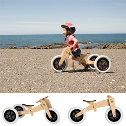 Wishbone Bike ~ a sustainably friendly woody lightweight 3 in 1 starter bike for kids that evolves with them! From a trike to pedal-less runner, to a standard bike (up to 5 yr olds!)... super cute product shots too!