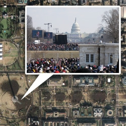 NOTCOT's view of the 56th United States Inauguration of President Barack Obama ~ granted we're one of the tiny millions of ants in the image, we were there! By the Washington Monument with a clear view of the Capitol!