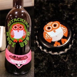 On adorable branding/packaging ~ the Hitachino Nest Beer owl is so cute! And there is even a valentine's day special label... but i love the big bottles with the owl printed on both the front and the bottle cap!