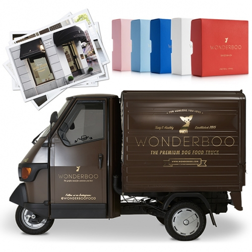 Wonderboo Luxurious Swedish Dog Food - with quite the branding, packaging, concept store... and adorable Piaggio Ape Food Truck! (in addition to a Land Rover Defender)