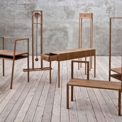 This is Oak, the result of an extracurricular, collaborative student workshop at Lund University School of Industrial Design, Sweden. The goal: to explore archetypes and stereotypes in the world of furniture.  The group developed a range of independent pieces, but which are actually impressively coherent. Of course it helps that they're all made from the same single material, American oak.  Exhibited at the Milan Design Fair 2011.