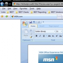 Tomorrow only, Friday, July 13th, the MSN.com homepage will display the new Microsoft Office 2007 UI. Find the new Office navigation ribbon at the top and customize the page as though they were editing a document.