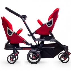 Orbit Baby introduces the Double Helix Stroller.  This stylish double stroller could be purchased as an add-on kit to the existing G2 stroller or a slick black framed double stroller.  And 360 degree rotation still works.