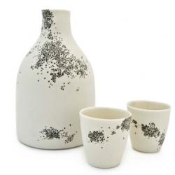 Beautiful porcelain sake set from White Bike Ceramics artist Lauren Adams.