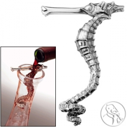 Pewter Sea Horse Wine Aerator - there's something mesmerizingly pretty about this... cool idea...