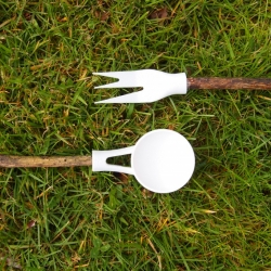 By attaching twigs onto our multi-purpose utensil heads, Backpackers and Campers can travel light and scavenge for their handles. With aims to hybridize indoor comfort with outdoor objects, these utensils will enhance the outdoor experience.