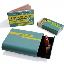 Papier d'Arménie is a traditional air freshener very popular in France, and found at nearly all the pharmacies there. 'Le kit' is the new burner. This little box includes Papier d'Arménie, matches and a little container to burn the paper.