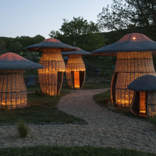 ChampiCabanes by Claude Pasquer. The mushroom huts, a new fairy garden for kids where children can hide.