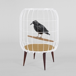 PEANUT GALLERY - side table in mild steel with resin crow and marble top by Miltonpriest