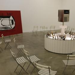 New work by Marti Guixe for Fondazione Sandretto Re Rebaudengo in Turin.  PFIC the public fountain ice cube bar.