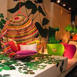 Moroso's New York City store featuring Patricia Urquiola's Tropicalia Cocoon.