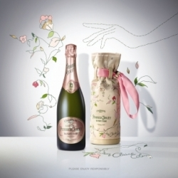 Perrier-Jouët pursues its collaboration with designers with the young London artist Claire Coles, in creating three bespoke embroidered designs to echo both the House style and the individual personality of its Grand Brut, Rosé and prestigious Belle Epoque cuvees.  Using fragments of vintage wallpapers, fabrics and scale, Coles produces layered botanical collages and creates bespoke handmade creations, transforming them into true works of arts. Using Nature as a source of inspiration, the artist gave her own interpretation of Perrier-Jouët's Art Nouveau philosophy with a Je ne sais quoi touch of haute-couture design, which was then applied to a limited number of bottles.