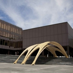 The newest Pavilion from EmTech (AA) + ETH is a light timber sun shade for the grand stairs in front of the architecture department of the ETH.