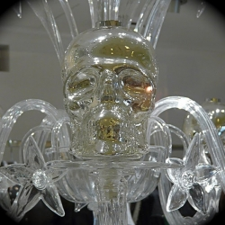 Designer Philipp Plein has just introduced his Murano Collection which includes these fabulous hand blown Skull and flower chandeliers in clear with lustre, frosted white and black Murano glass.