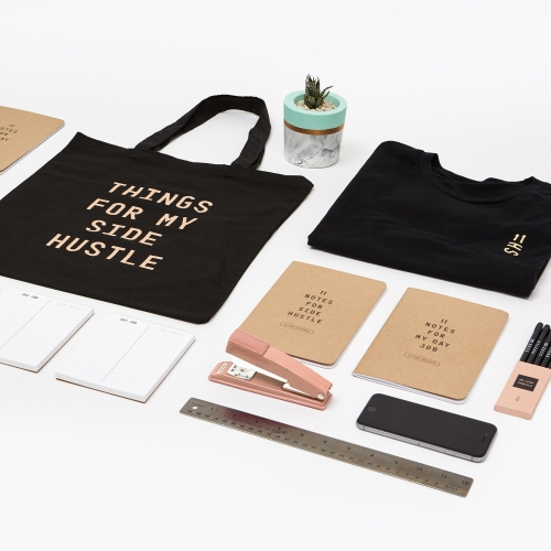 A collection of supplies apparel, and accessories to celebrate your side hustle while killing it at your day job.