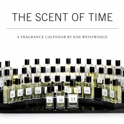THE SCENT OF TIME is the first calendar that expresses time in the sensual language of perfume. The year, month and day determine the base, heart and head notes. Blend essences directly on the skin to create 365 perfumes.