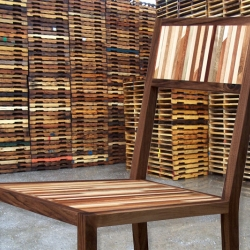 A new take on reclaimed furniture using striped repurposed pallet wood.  by Jamison Sellers.