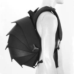 Handmade Fair trade backpack Pangolin for men. Striking urban bag made of recycled inner tubes of trucks.