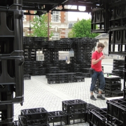 Critical Practice just completed this installation made of 4200 milk crates at Chelsea College, London as part of Parade [#30782]. The project explores the layers of predetermined design and spontaneous space creation.