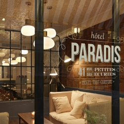 Hotel Paradis Paris is a new hotel in Paris designed by Chzon. The Hôtel Paradis is ideally located in a typically Parisian street situated half way between the Gare du Nord railway station and the prestigious Opéra Garnier in Paris.