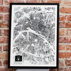 Building footprint map print of Paris, France. By CityFabric.