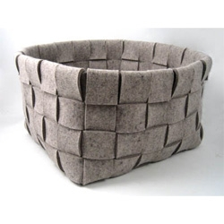 "Beautiful and practical 15"" x 15"" x 15"" felt basket from German company Parkhaus."