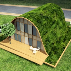 This unique take on green roof design disguises this gorgeous green house as a grassy knoll in the city of Reims, France.