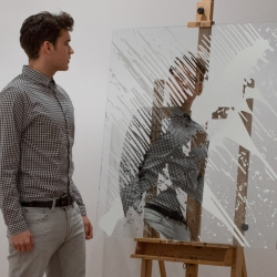 """""""Liquid Mirror Paintings"""" - Hybrid between mirror and paint, created with a self-created silver alloy that applied over glass like a paint, the drawing literally reflects like a mirror."""