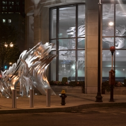 UPLIFT is a permanent, site-specific, indoor-outdoor sculpture made of waterjet cut stainless steel and aluminum, commissioned by Liberty Mutual Insurance Group for new headquarters in Back Bay, Boston.