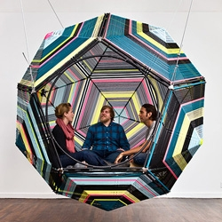 Mexican artist Pedro Reyes's series of fun, cocoon-like, interactive structures, 'Capulas'.