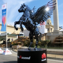 Huawei's sculpture at MWC was a Pegasus made of 3,500 smartphones!Crafted by London's Machine Shop. Nice making of video as well.