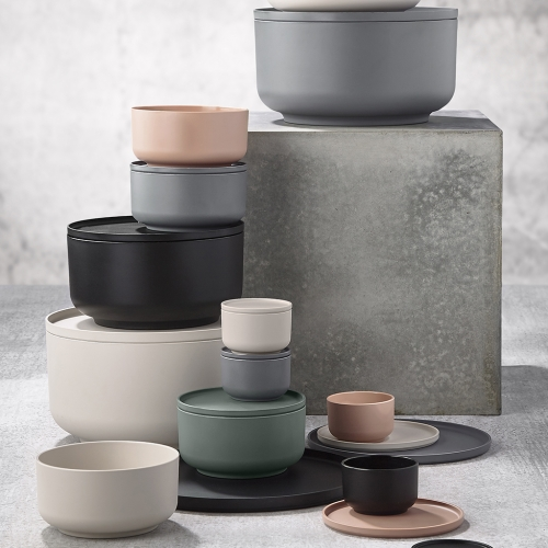 Peili Bowls designed by Danish design trio VE2. For preparing, serving and storing. Lid doubles as both plate and coaster.