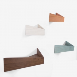 Wooden Dot Pelican, handmade versatile wall organizer. Wood structure acts as a container and metal sheet acts as a wall hanger, with two hidden hooks, available in 2 sizes, 4 finishes.