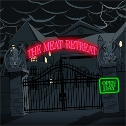 It's open day at the Peperami Meat Retreat - A mental hospital for some freaky sausages.