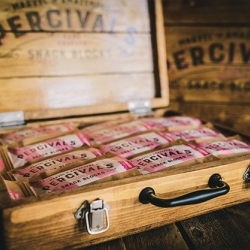 Handmade wooden suitcase from the crew at Great Depths. A premium merchandising unit made to display Percival's wondrous wares!